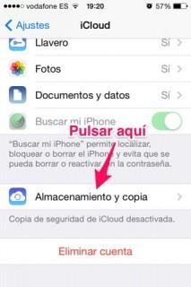 copia de seguridad en iOS desde iCloud
