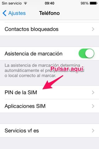 PIN de la tarjeta SIM en iPhone 3