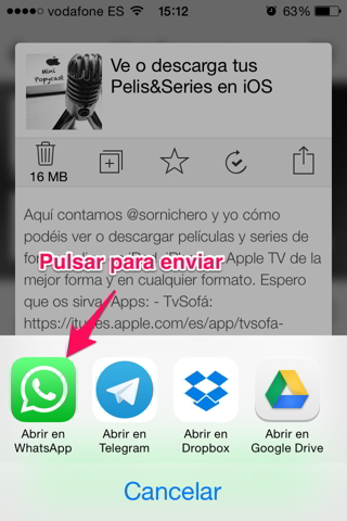 enviar podcast por Whatsapp en iphone 4