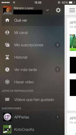 Youtube Menú con registro