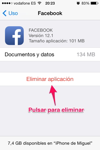 Eliminar una app 4