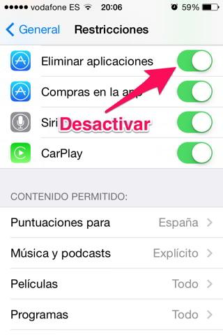 eliminen una app 3