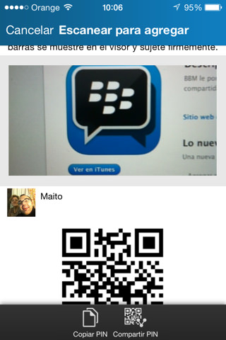 BLACKBERRY MESSENGER Escáner