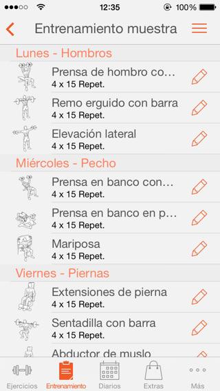 tablas de ejercicios y entrenamientos