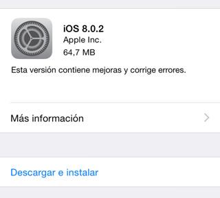 Novedades de iOS 8.0.2
