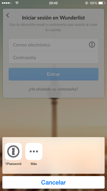 Acceder a Wunderlist usando 1Password em iPhone y iPad