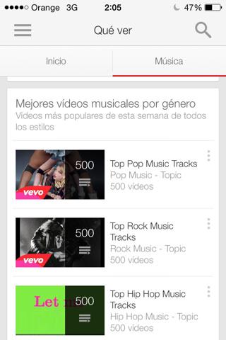 Disfruta de música en Youtube