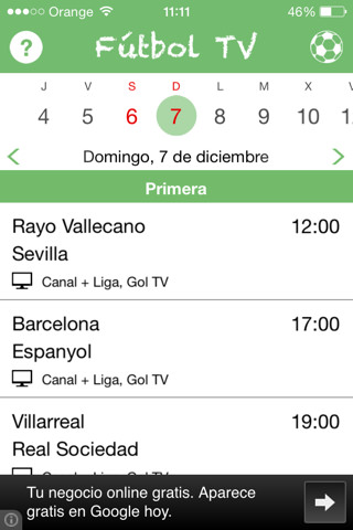 Fútbol TV 2.0 para iPhone