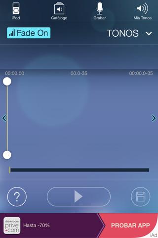 Pantalla principal de la app Tonos para iPhone iOS 8