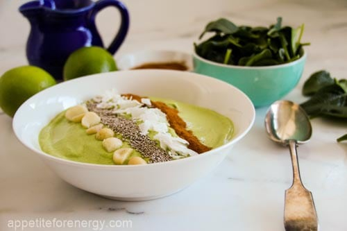 Whip up this Green Keto Smoothie Bowl in 5 minutes. It's the perfect low-carb morning kick-starter with 7g of net carbs per serve.