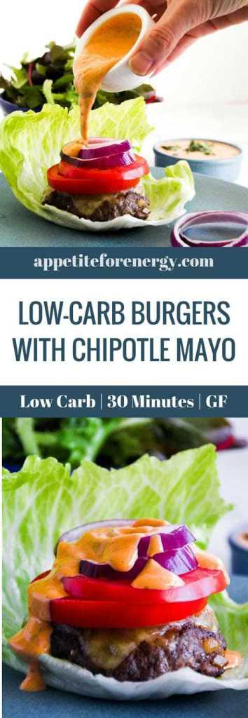 For the BEST bunless burger, look no further than our juicy, decadent, soul restoring Low-Carb Burger With Chipotle Mayo. 30 minutes & 9g of net carbs. Low-Carb burger recipe| bunless burgers| gluten-free burger|Atkins burger|keto burger|ketogenic diet burger |hamburger | quick burger recipe|how to make a bunless burger