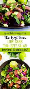 Thai Beef Salad in a bowl with limes