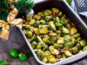 Low-Carb Easy Bacon Brussels Sprouts in the baking tray with holiday decorations