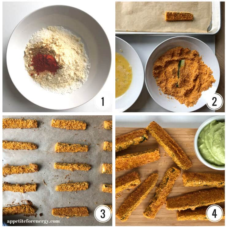 Collage showing steps to make zucchini fries - the bowl with crumb & spices, bowls of egg and crumb, fries cooked on oven tray, cooked Zucchini Fries with sauce