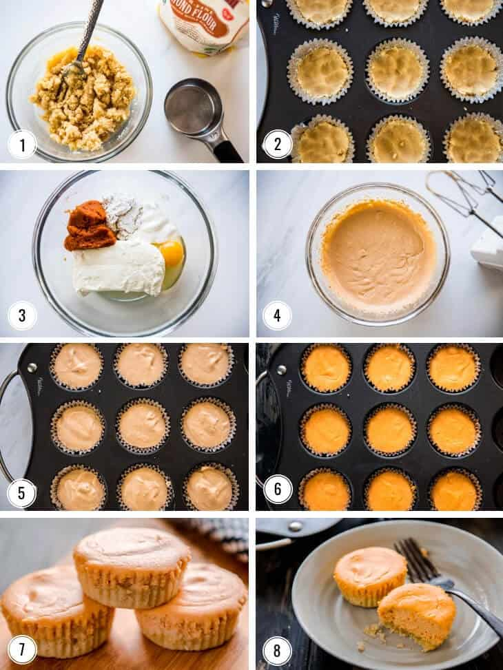 Collage showing Steps by step images for making EASY LOW-CARB PUMPKIN CHEESECAKE