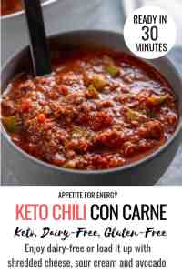 KETO Chili Con Carne in grey earthenware bowl for one with black spoon