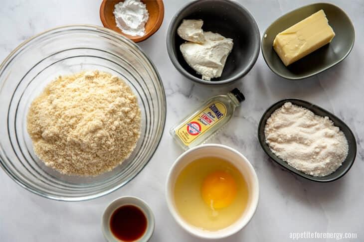 Ingredients for keto sugar cookies in bowls