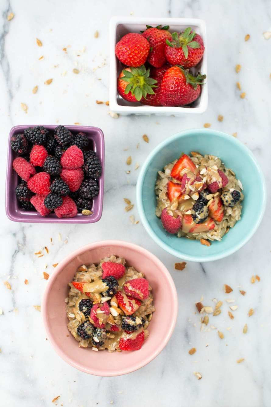 mixed berry and sunbutter oatmeal bowls - Appetites Anonymous