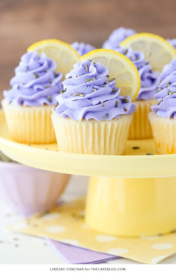 Lemon Lavender Cupcakes from The Cake Blog. Lavender and lemon, yes please!!