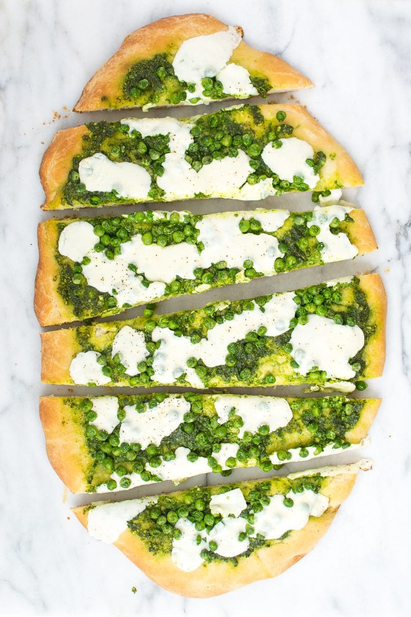 pea pizza with truffle spinach pesto - Appetites Anonymous