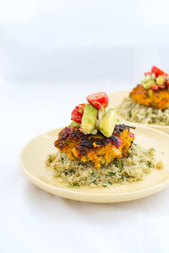 chipotle shrimp cakes over cilantro cauliflower rice | Appetites Anonymous