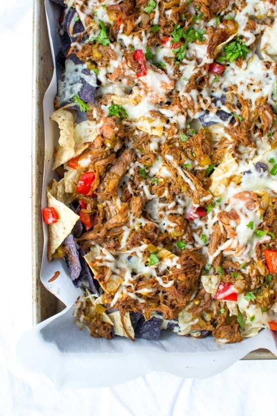 pulled pork sheet pan nachos | Appetites Anonymous
