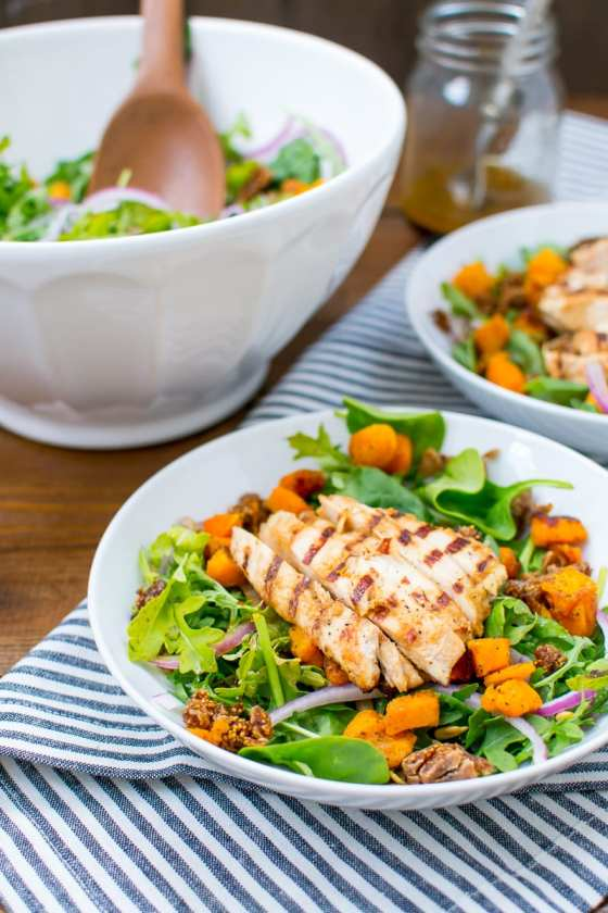 roasted butternut squash and grilled chicken salad with sesame ginger vinaigrette | Appetites Anonymous