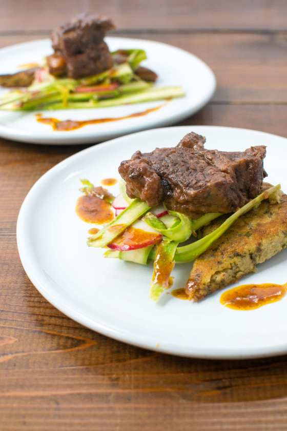 short ribs over fried polenta and shaved asparagus salad - Appetites Anonymous