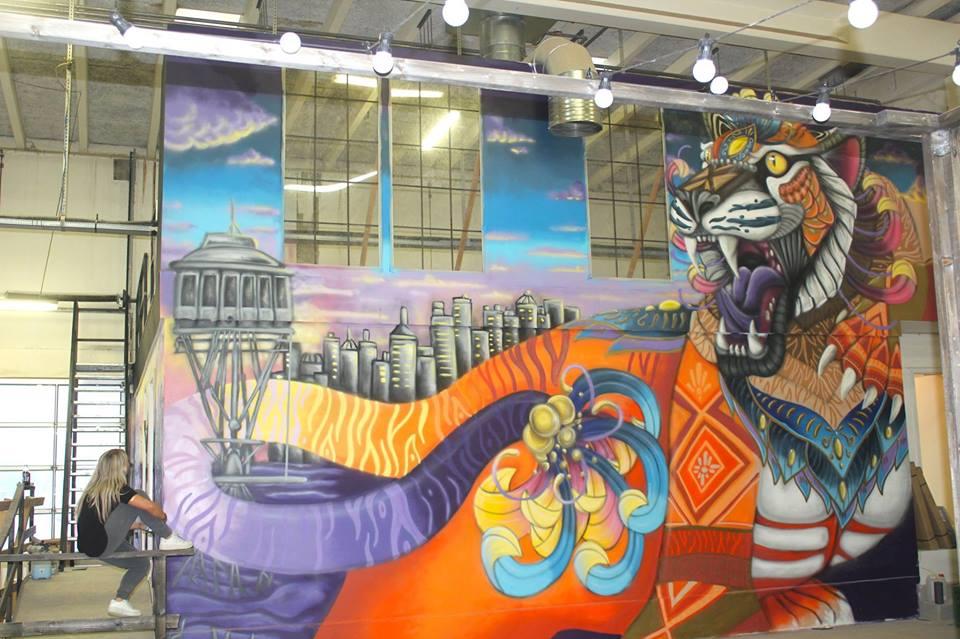 Et af de færdige vægmalerier hos Aalborg Streetfood