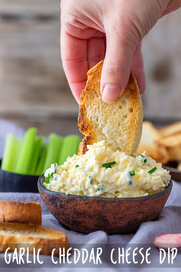 This Garlic Cheddar Cheese Dip recipe is easy, quick and tasty. Serve it as a dip or spread over toasted baguette or crackers. Ready in 5 minutes! #appetizeraddiction #garlic #cheddar #cheese #dip #recipe #appetizers #partyfood