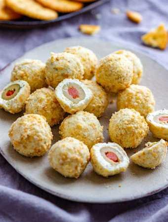 Olive Stuffed Cheese Ball Bites
