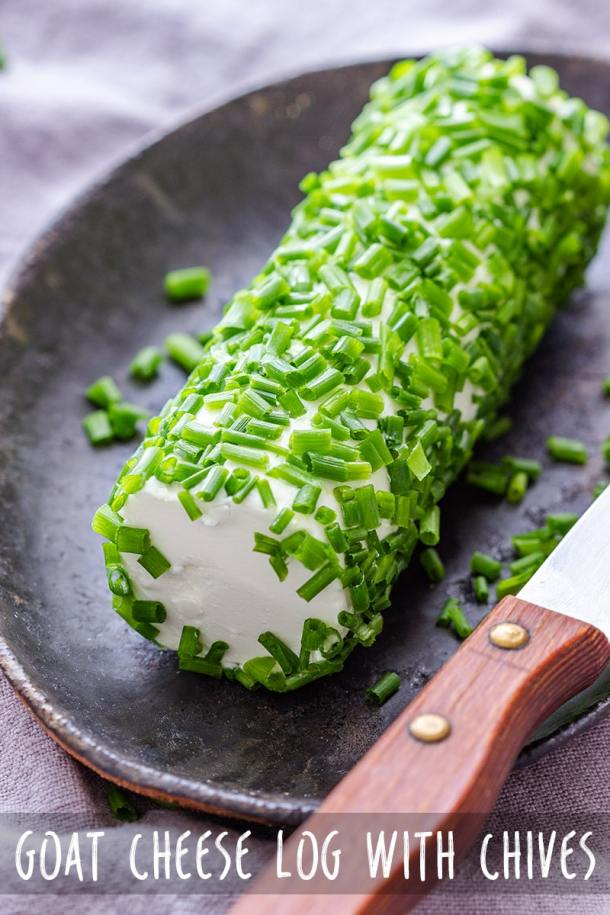 Easy recipe for homemade goat cheese log with fresh chives. This quick appetizer is perfect if you need any last minute appetizer ideas or something to put on your cheese board. #cheeselog #goatcheese #appetizers #appetizerrecipes