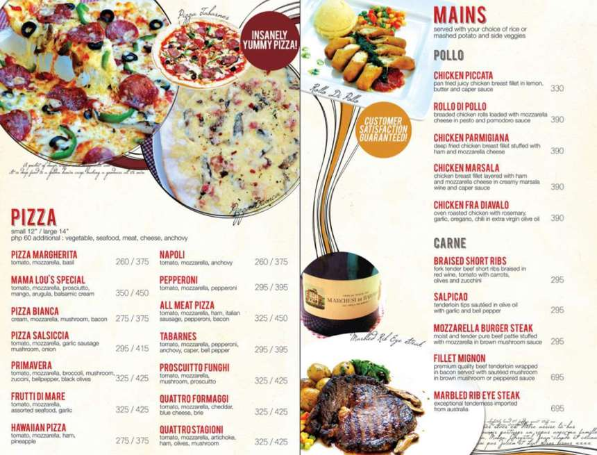 Mama Lou's Italian Kitchen Las Pinas Menu 3