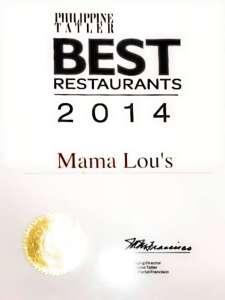 Mama Lous Italian Kitchen Philippine Tatler Recognition