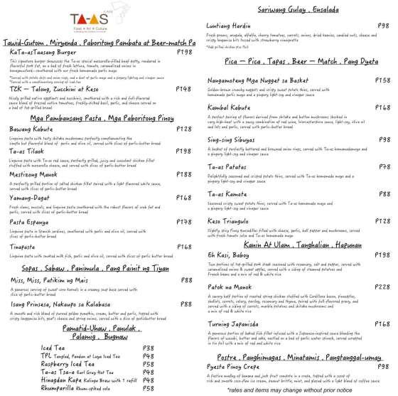 TA-AS Cafe Menu