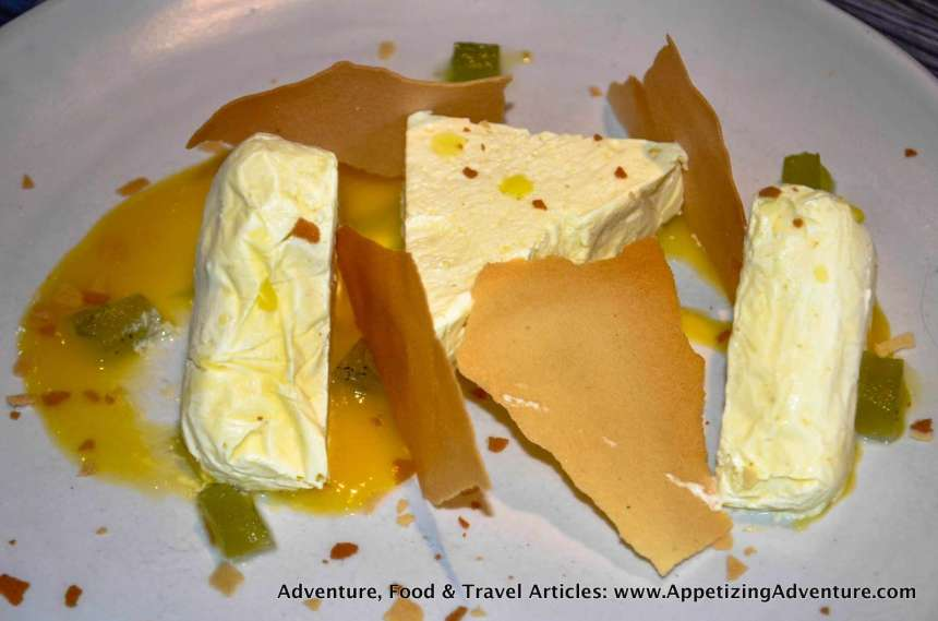Calamansi Semifrio Php225 (Calamansi semifreddo with mango sauce and mint jelly)