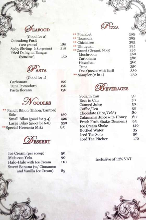Herencia Restaurant Menu 1