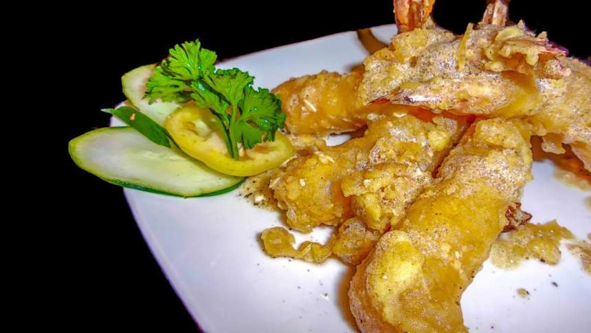 Salted Egg Tempura Php380 Shrimp Tempura in buttery, salted egg sauce