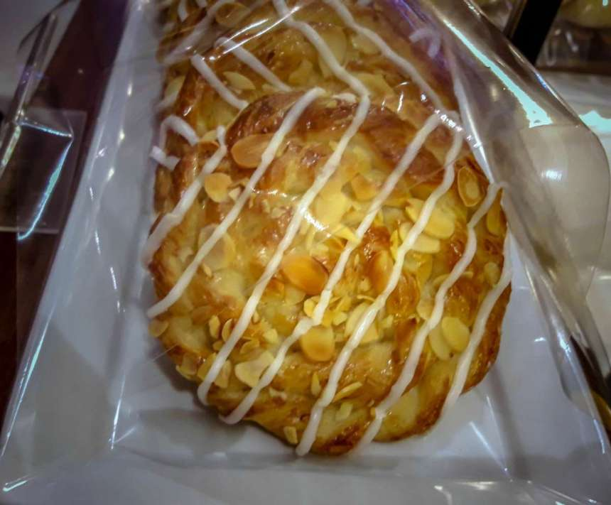 Almond Danish Php51 Flaky Danish pastry lavished with a sweet sugar glaze, then sprinkled with toasted almond flakes