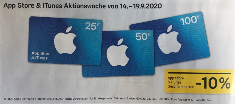 iTunes Karten Aktion September 2020