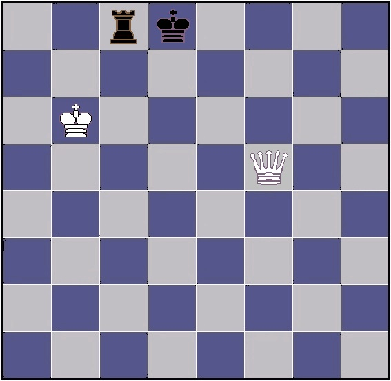 chess position with queen versus rook, trapezoid