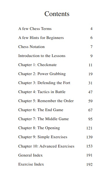 Table of contents for this chess book