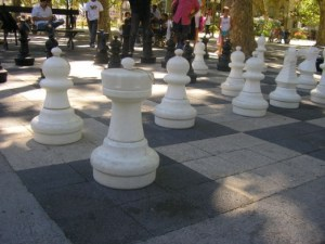 huge chess set out of doors