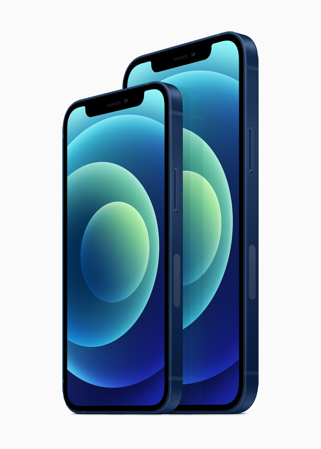 iPhone 12 and iPhone 12 mini in the blue aluminum finish.