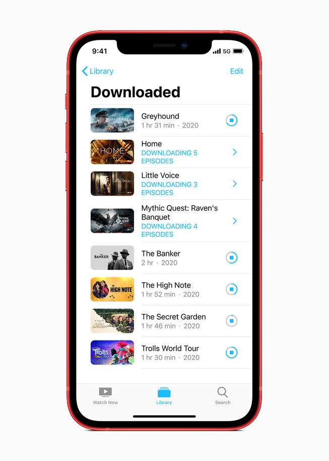 The Apple TV+ Download library on iPhone 12.