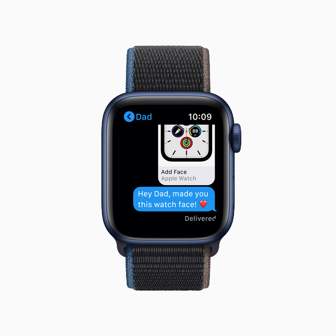 Watch face sharing in Messages on Apple Watch.
