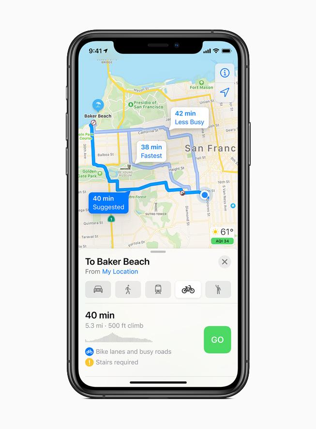 Indicazioni per ciclisti visualizzate su iPhone 11 Pro.