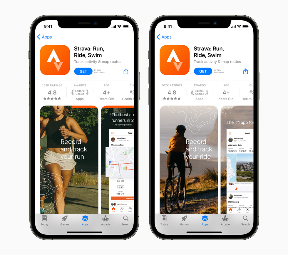 The Strava app on the App Store, displayed on iPhone 12 Pro.