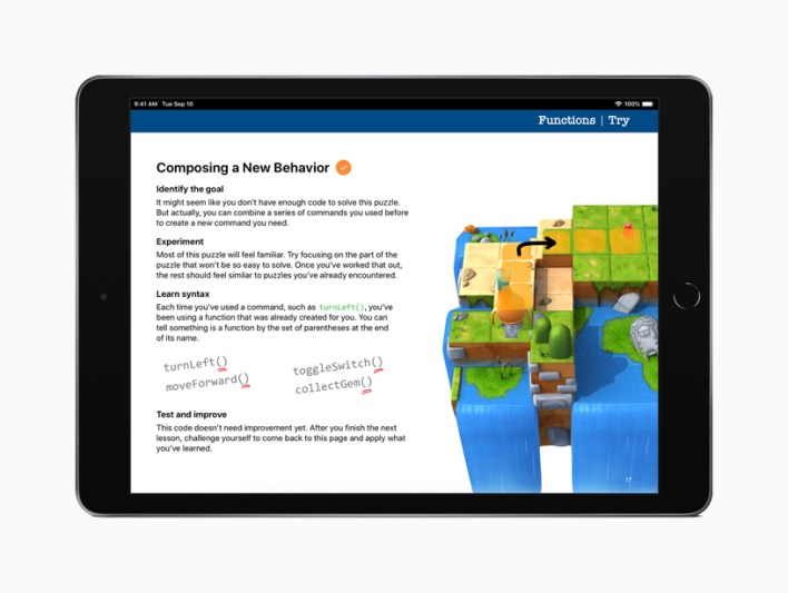 Everyone Can Code Puzzles on iPad.