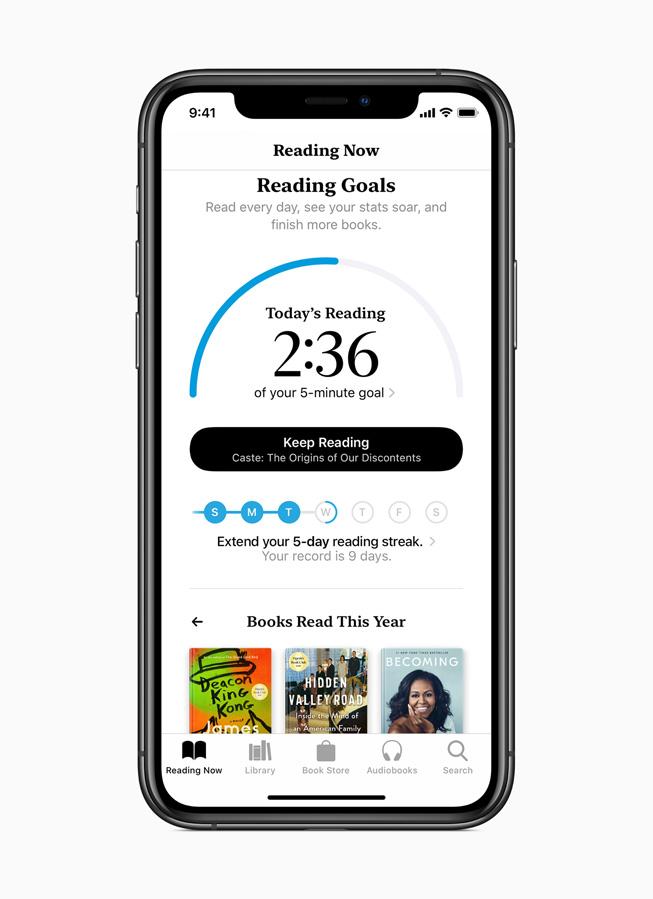 Pannello Obiettivi di lettura su Apple Books.